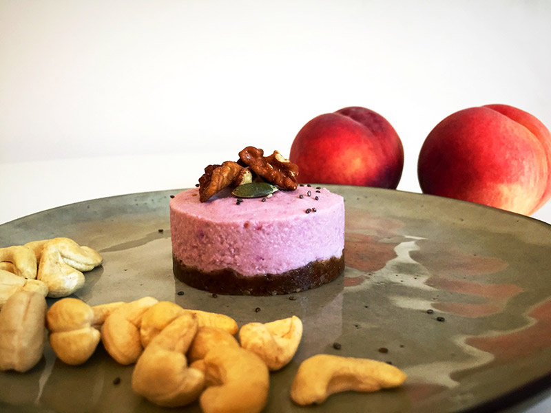 Raw cake pêche rosée