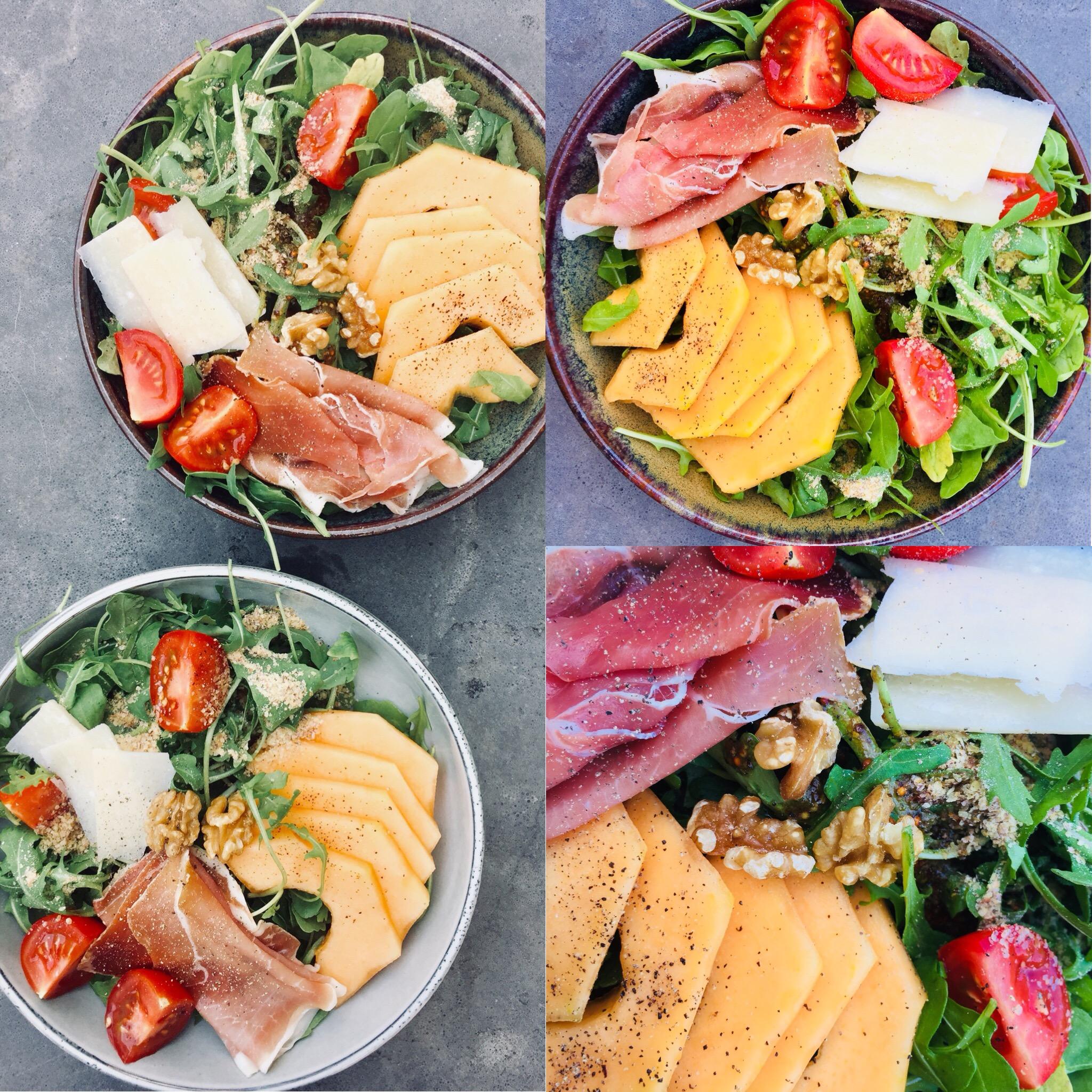 Salade jambon cru, melon
